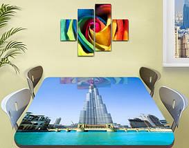 Виниловая наклейка на стол Небоскреб Бурдж Халифе декоративная пленка самоклеющаяся, голубой 60 х 100 см, фото 2