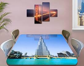 Виниловая наклейка на стол Небоскреб Бурдж Халифе декоративная пленка самоклеющаяся, голубой 60 х 100 см, фото 3