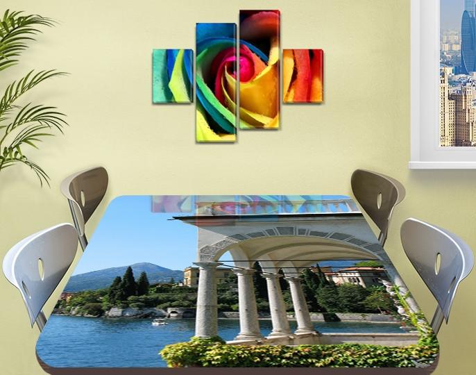 Виниловая наклейка на стол Арки и Колонны Архитектура декоративная пленка самоклеющаяся, голубой 60 х 100 см
