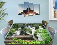 Виниловая наклейка на стол Каменная лестница в Саду декоративная пленка самоклеющаяся, серый 60 х 100 см