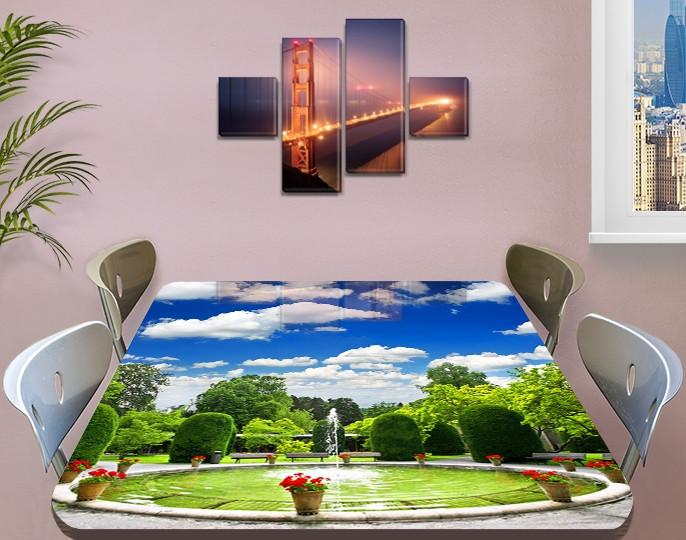 Виниловая наклейка на стол Фонтан и голубое небо декоративная пленка самоклеющаяся, голубой 60 х 100 см