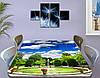 Виниловая наклейка на стол Фонтан и голубое небо декоративная пленка самоклеющаяся, голубой 60 х 100 см, фото 3
