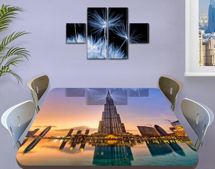 Виниловая наклейка на стол Восточный Небоскреб самоклеющаяся пленка с ламинацией, синий 60 х 100 см