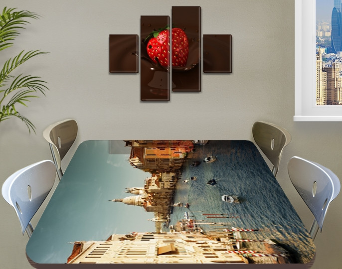 Виниловая наклейка на стол Венеция Архитектура самоклеющаяся пленка с ламинацией, голубой 60 х 100 см
