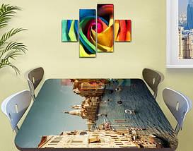 Виниловая наклейка на стол Венеция Архитектура самоклеющаяся пленка с ламинацией, голубой 60 х 100 см, фото 2