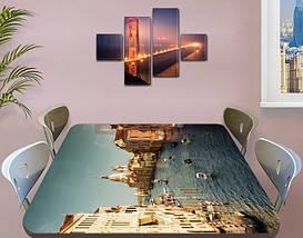 Виниловая наклейка на стол Венеция Архитектура самоклеющаяся пленка с ламинацией, голубой 60 х 100 см, фото 3