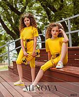 Летний яркий костюм для девочек футболка и короткие лосины, размер от 110 до 164