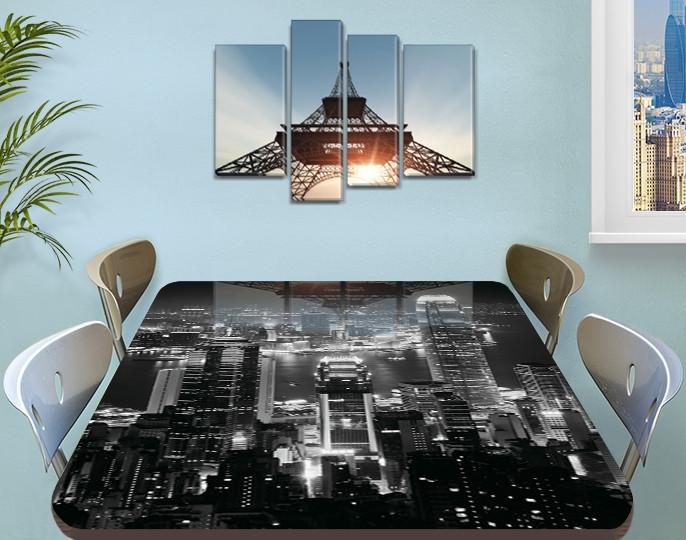Виниловая наклейка на стол Ночной город черно-белый самоклеющаяся пленка с ламинацией, серый 60 х 100 см