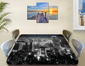 Виниловая наклейка на стол Ночной город черно-белый самоклеющаяся пленка с ламинацией, серый 60 х 100 см, фото 3