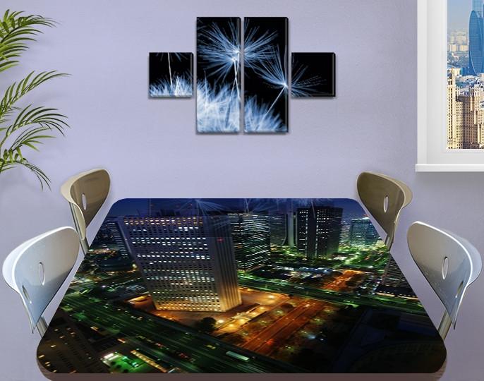 Виниловая наклейка на стол Ночной Город Огни самоклеющаяся пленка с ламинацией, синий 60 х 100 см