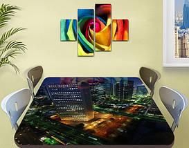 Виниловая наклейка на стол Ночной Город Огни самоклеющаяся пленка с ламинацией, синий 60 х 100 см, фото 2