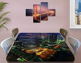 Виниловая наклейка на стол Ночной Город Огни самоклеющаяся пленка с ламинацией, синий 60 х 100 см, фото 3
