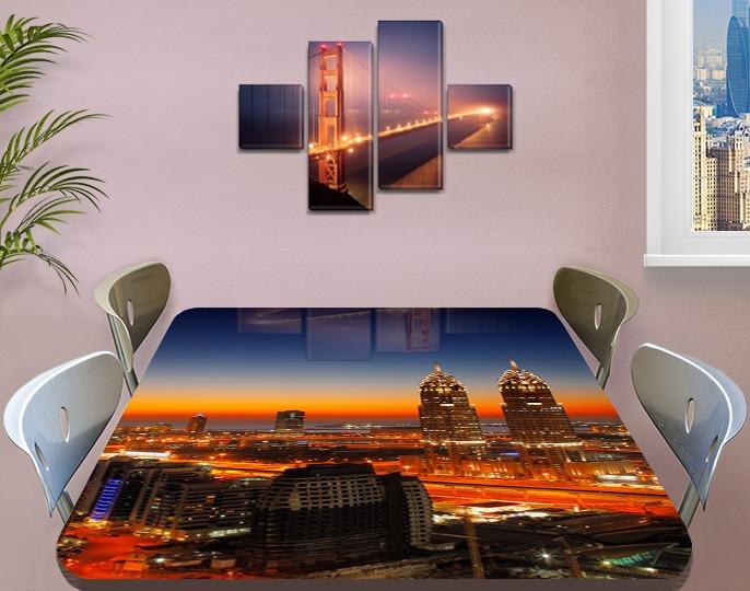 Виниловая наклейка на стол Рассвет над ночным городом самоклеющаяся пленка с ламинацией, оранжевый 60 х 100 см