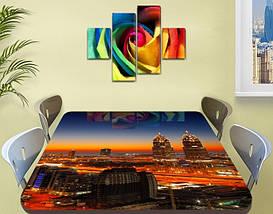 Виниловая наклейка на стол Рассвет над ночным городом самоклеющаяся пленка с ламинацией, оранжевый 60 х 100 см, фото 2