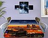 Виниловая наклейка на стол Рассвет над ночным городом самоклеющаяся пленка с ламинацией, оранжевый 60 х 100 см, фото 3