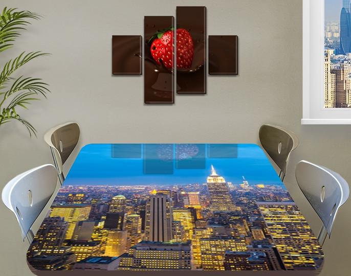 Виниловая наклейка на стол Ночной город на рассвете самоклеющаяся пленка с ламинацией, голубой 60 х 100 см