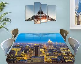 Виниловая наклейка на стол Ночной город на рассвете самоклеющаяся пленка с ламинацией, голубой 60 х 100 см, фото 3