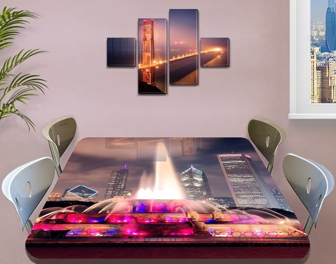 Виниловая наклейка на стол Разноцветный радужный фонтан самоклеющаяся пленка с ламинацией, серый 60 х 100 см