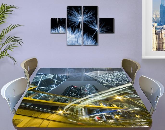 Виниловая наклейка на стол Ночные небоскребы и дороги самоклеющаяся пленка с ламинацией, серый 60 х 100 см