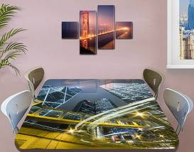 Виниловая наклейка на стол Ночные небоскребы и дороги самоклеющаяся пленка с ламинацией, серый 60 х 100 см, фото 3