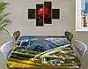 Виниловая наклейка на стол Ночные небоскребы и дороги самоклеющаяся пленка с ламинацией, серый 60 х 100 см, фото 2