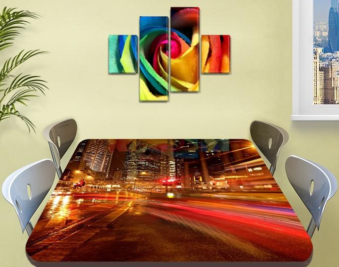 Виниловая наклейка на стол Скорость огней ночного города самоклей пленка с ламинацией, коричневый 60 х 100 см