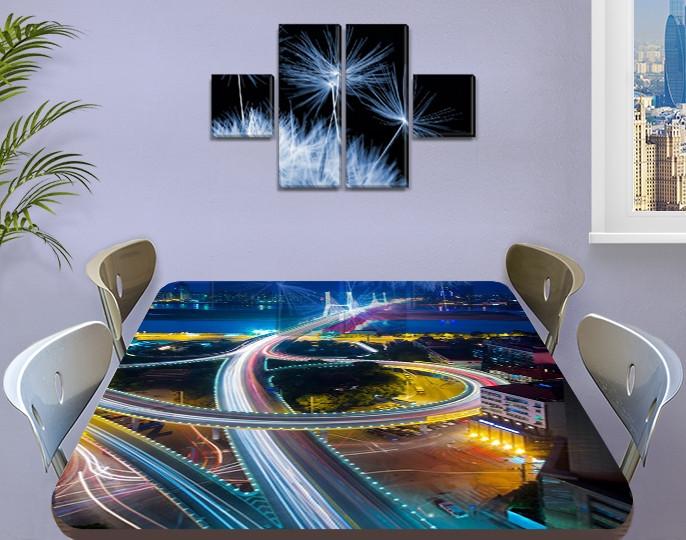 Виниловая наклейка на стол Автомагистрали Огни дорог самоклеющаяся пленка с ламинацией, синий 60 х 100 см