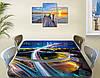 Виниловая наклейка на стол Автомагистрали Огни дорог самоклеющаяся пленка с ламинацией, синий 60 х 100 см, фото 3