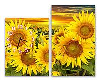 Желтые Красивые Часы картина модульная для дома Подсолнуховое поле 30х40  30х50 см
