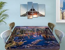 Виниловая наклейка на стол Городская пристань Ночные огни самоклеющаяся пленка с ламинацией, 60 х 100 см, фото 2
