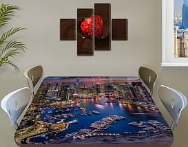 Виниловая наклейка на стол Городская пристань Ночные огни самоклеющаяся пленка с ламинацией, 60 х 100 см, фото 3
