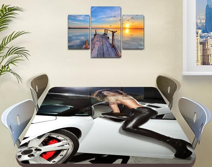 Декоративная наклейка на стол Девушка и Машина виниловая пленка самоклейка, транспорт, серый 60 х 100 см