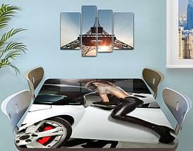 Декоративная наклейка на стол Девушка и Машина виниловая пленка самоклейка, транспорт, серый 60 х 100 см, фото 3