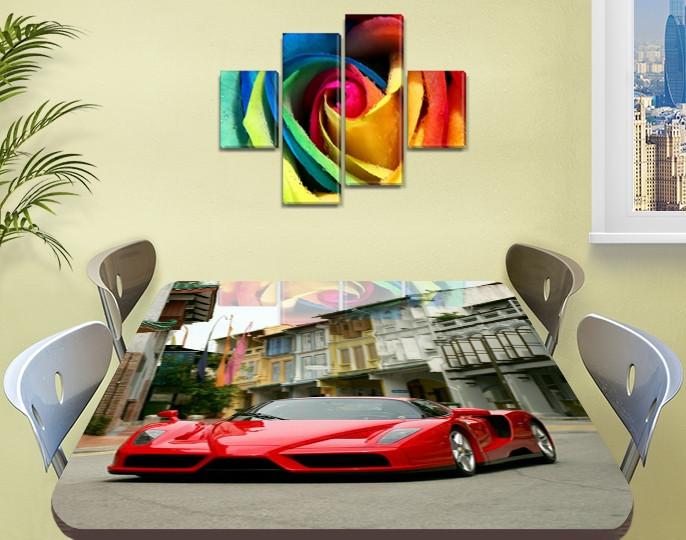 Декоративная наклейка на стол Монако машина виниловая пленка самоклейка, транспорт, красный 60 х 100 см