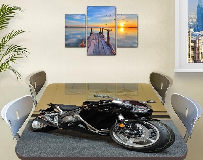 Декоративная наклейка на стол Черный мотоцикл байк виниловая пленка самоклейка, транспорт, черный 60 х 100 см