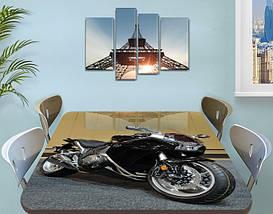 Декоративная наклейка на стол Черный мотоцикл байк виниловая пленка самоклейка, транспорт, черный 60 х 100 см, фото 3