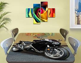 Декоративная наклейка на стол Черный мотоцикл байк виниловая пленка самоклейка, транспорт, черный 60 х 100 см, фото 2
