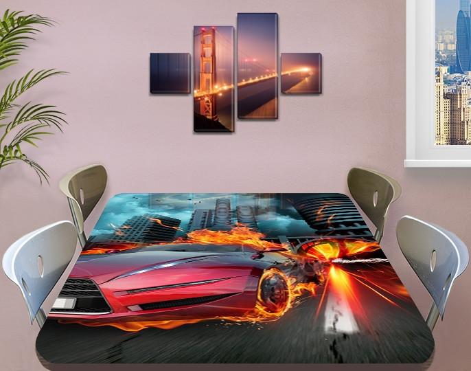 Декоративная наклейка на стол Огненный гонщик машина виниловая пленка самоклейка транспорт красный 60 х 100 см