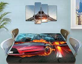 Декоративная наклейка на стол Огненный гонщик машина виниловая пленка самоклейка транспорт красный 60 х 100 см, фото 3