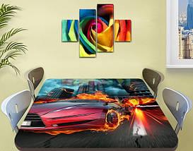 Декоративная наклейка на стол Огненный гонщик машина виниловая пленка самоклейка транспорт красный 60 х 100 см, фото 2