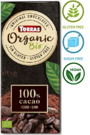 Шоколад Torras черный 100% cacao 100 g, фото 2