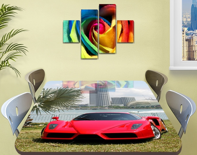 Декоративная наклейка на стол Суперкар Пальмы машина виниловая пленка самоклейка транспорт красный 60 х 100 см