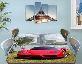 Декоративная наклейка на стол Суперкар Пальмы машина виниловая пленка самоклейка транспорт красный 60 х 100 см, фото 3