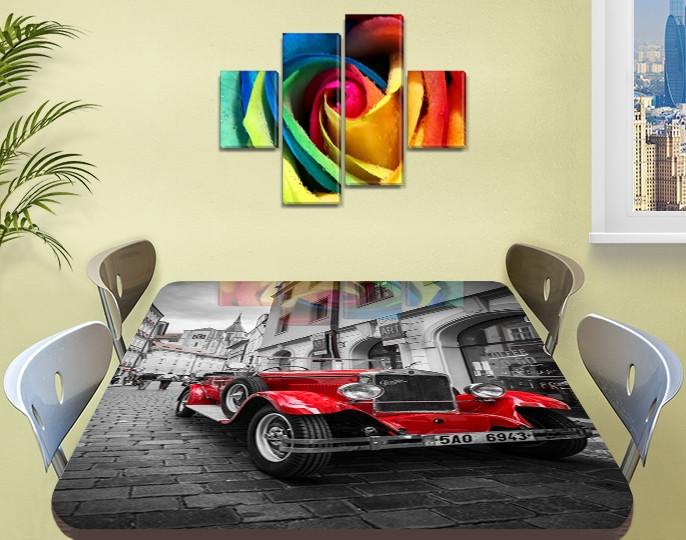 Декоративная наклейка на стол Алый Олдкар машина виниловая пленка самоклейка, транспорт, красный 60 х 100 см