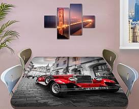 Декоративная наклейка на стол Алый Олдкар машина виниловая пленка самоклейка, транспорт, красный 60 х 100 см, фото 3
