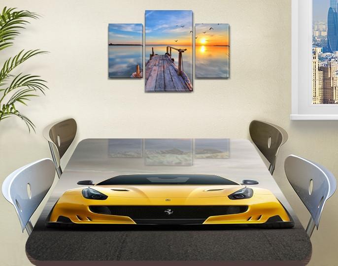 Декоративная наклейка на стол Желтая Феррари виниловая пленка самоклейка, транспорт, желтый 60 х 100 см