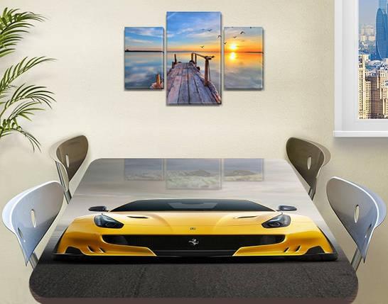 Декоративная наклейка на стол Желтая Феррари виниловая пленка самоклейка, транспорт, желтый 60 х 100 см, фото 2