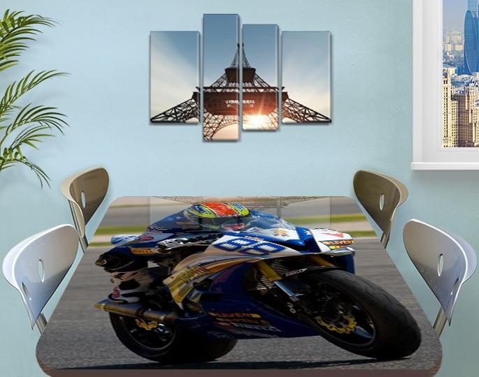 Декоративная наклейка на стол Гонки номер 88 виниловая пленка самоклейка, транспорт, синий 60 х 100 см