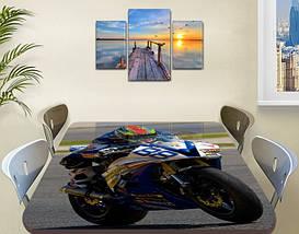 Декоративная наклейка на стол Гонки номер 88 виниловая пленка самоклейка, транспорт, синий 60 х 100 см, фото 3