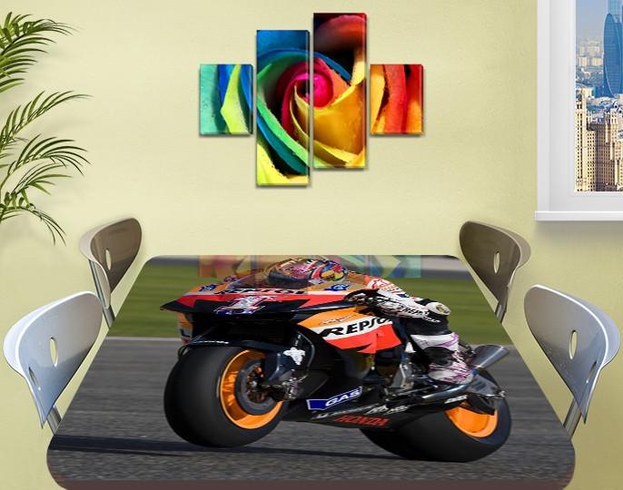 Декоративная наклейка на стол Мотокросс гонки байки виниловая пленка самоклейка, транспорт, черный 60 х 100 см